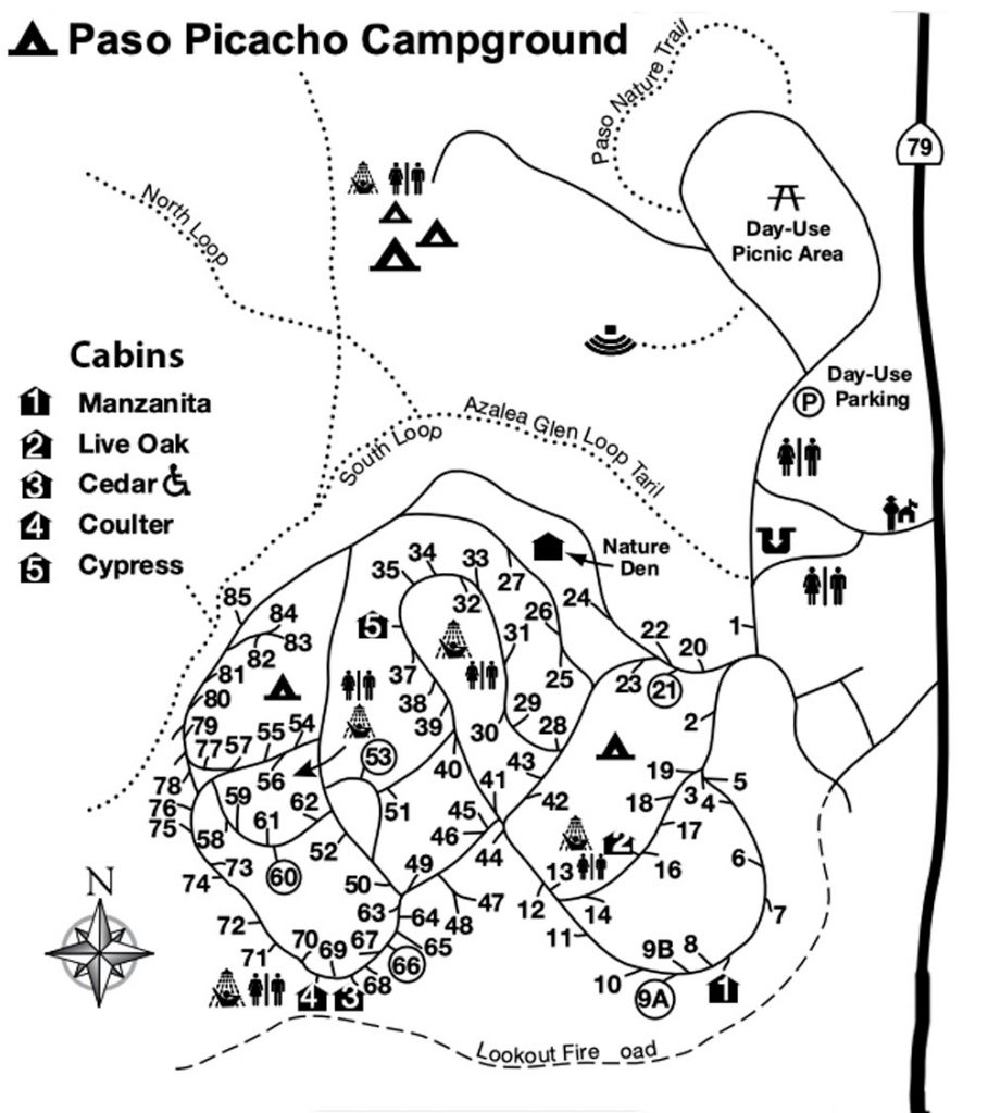 Map of Paso Picacho Campground